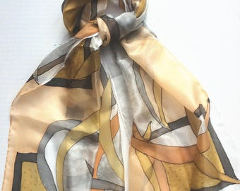 Abstract hand painted silk scarf in ochre and grey.  Unique design silk scarf