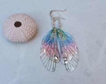 Fairy Wing Earrings, Sterling Silver Fairy Wing Earrings , Fairy Gifts, Gifts for Her, Gifts for her, Gifts under 25, Fairy, Rainbow Fairy