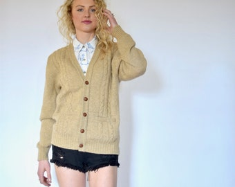70s Classic Jantzen Retro Cable Knit Wool Grandpa Cardigan Sweater xs s m