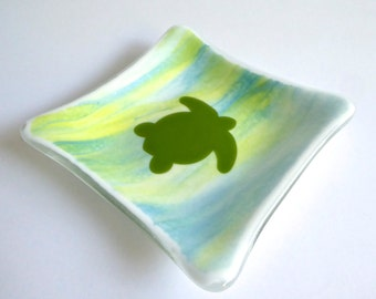Fused Glass Turtle Dish in Streaky Yellow, White and Blue Glass by BPRDesigns