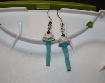 White Rose Stem Earrings