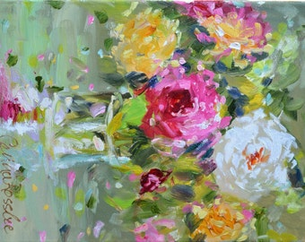 Art Print of, SHABBY CHIC ROSES in an impressionistic style!