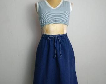 Vintage Denim Skirt/Denim Wrap Skirt/Denim Skirt/Midi Skirt/Vintage Skirt
