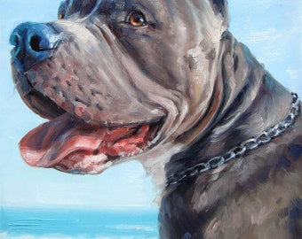 """Custom Dog Paintings, oil portrait paintings from your photos, 10x12 inches """"Ocean Breezer"""""""