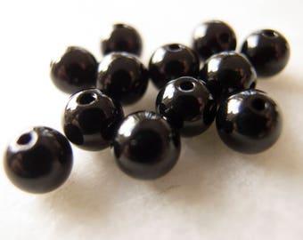 Vintage Swarovski Jet Black Round Beads - 8mm - Lot of 12