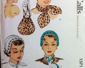Hat Pattern McCalls 1571 Misses Cap Hat Purse Handbag Bag and 2 Scarfs Vintage Adjustable Headsize