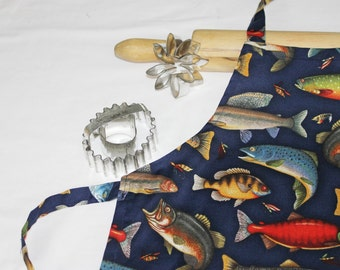 Fish Child Apron - navy