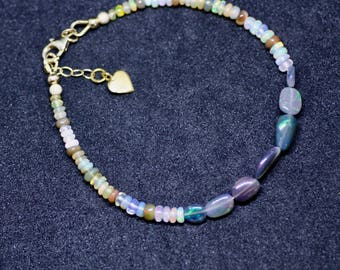 Natural Black Opal Bracelet 14K Gold Filled , October Birthstone, Wedding , 14th Anniversary , Delicate , From Canada , Healing Gem