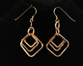 Copper Wire Rounded Square Earrings