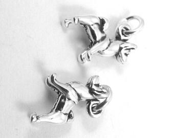 Two Sterling Silver Mini Akita Dog Charms  - 3098