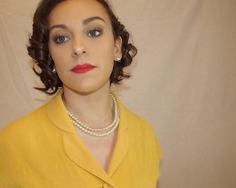 50's yellow button dress