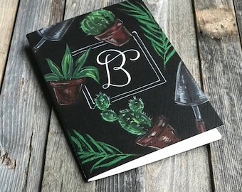 Monogrammed Blank Notebook Succulent Journal | Chalk Gardening | Travel Journal | Gifts for Her | Idea Notebook | Jotters | Diaries | Books