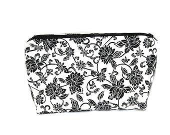 Floral Makeup Bag - Makeup Brush Bag - Makeup Brush Holder - Gift For Mothers Day - Makeup Storage - Cosmetic Bag - Zippered Pouch