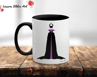 Disney's Maleficent Villain Mug - minimalist sleeping beauty maleficent villain evil mug