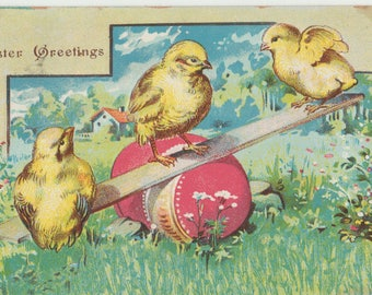 Vintage Easter Postcard, Three Chicks Playing Seesaw on Red Barrel, 1912
