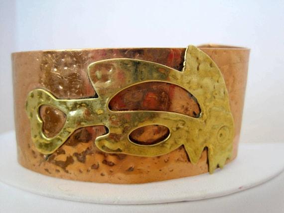 Copper Brass Bracelet, Mixed Metal, Vintage Wide Cuff