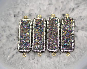 Titanium Rainbow Rectangle Connector,Pave White Rhinestone Rectangle Druzy Connector, Druzy, Drusy, Gold Plated Pendant, Bar Pendant