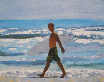"Surfer Painting- Archival Print- 8""x8"" -""Surf Day"""