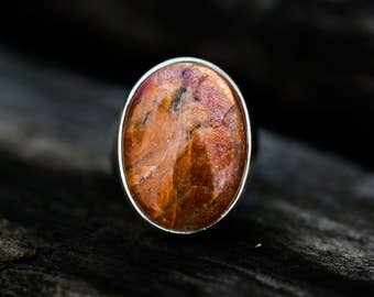 Sunstone Ring Size 8 - Sunstone Sterling Silver Ring - Sunstone cabochon ring Size 8 - Sunstone Jewelry - Sunstone and Sterling Silver Ring