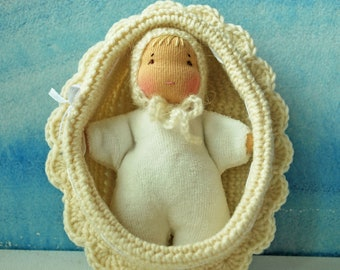 Waldorf inspired rag white baby doll in a crochet crib Steiner doll Baby dolls in cribs Eco Doll Waldorf Pocket doll Waldorf toy Cuddle doll
