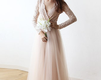 Long Sleeves Engagement Dress Blush tulle and lace , Tulle and lace pink dress 1125