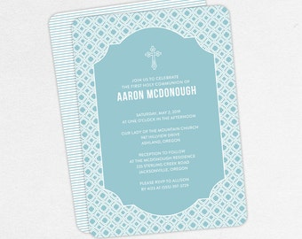 First Communion Invitation, First Holy Communion Invitation, Religious, Printed, PDF, DIY Communion Invitation, Boy Invitation, Blue, Aaron