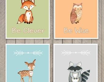 Woodland Nursery Art - Woodland Animal Art Prints, Set of 4 Prints, Woodland Nursery Decor Fox Raccoon Owl and Deer Art - Kids Wall Art