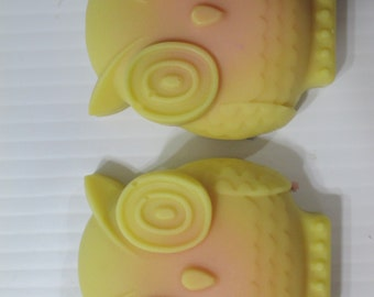 Tropical soap, owl soap, pina colada soap, yellow soap, best smelling soap, pretty soap, swirly soap, hostess gift