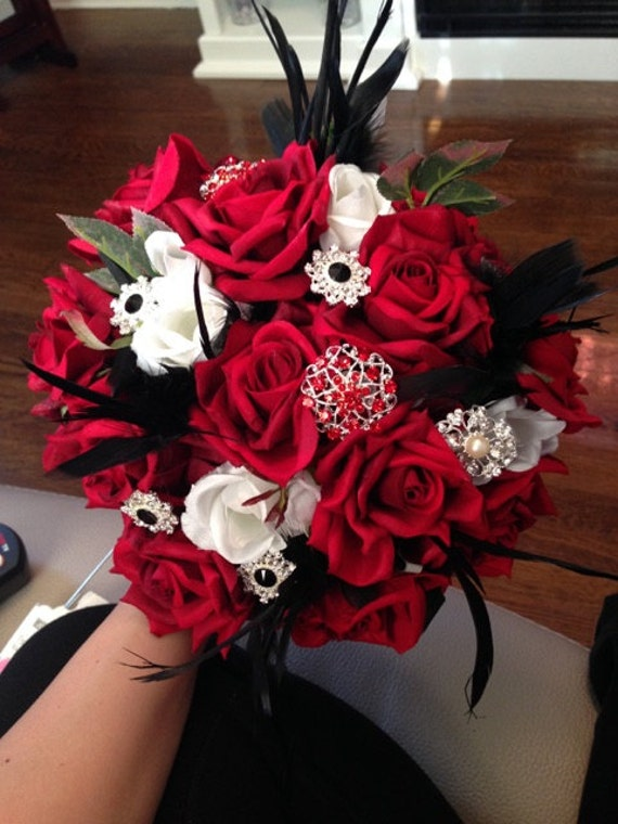 Rockabilly Bridal Bouquet - Red and Black Brooch Bridal Bouquet