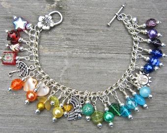 Rainbow charm bracelet - colourful charm bracelet - umbrella, sun