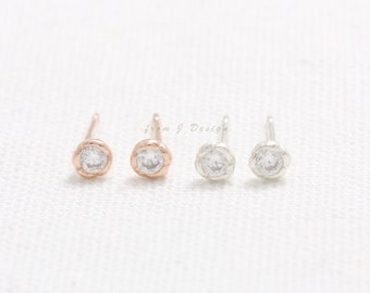 Sterling Silver Tiny CZ Natural Bezel Stud Earrings