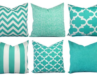 Outdoor Pillow Covers - Aqua Pillow - Teal Pillow Cover - Patio Pillow - Turquoise Pillows - Chevron Pillow - Solid Pillow - Quatrefoil