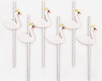 Paper Straws - Swans Pack Of 12 Birthday Party