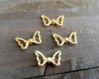 Angel Wing Beads Angel Wing Charms Gold Metal Beads Wing Spacer Beads Gold Beads Gold Angel Wings 10 pieces