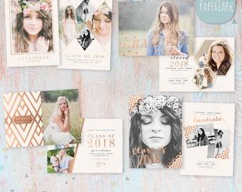 Senior Announcement Card Bundle  - Photoshop Template - AG017 - Instant Download