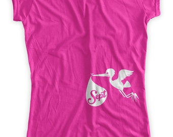 Custom Due Date Stork Maternity T-Shirt Clothes Top - You pick the month - Made From Bamboo - SUPER SOFT & Stretchy