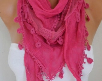 Hot Pink Scarf,Mother's day Gift Shawl Cotton Lace Cowl Gift Ideas For Her Women Fashion Accessories