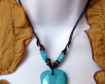 Necklace Native American Heart gemstone pendant of genuine bone beads Native American Turquoise Heart Necklace