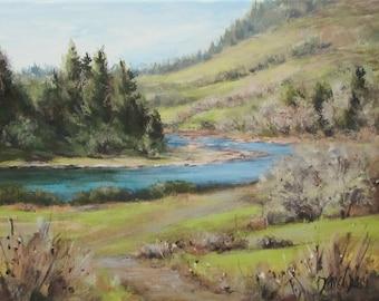 North Bank March - Original River Landscape Painting