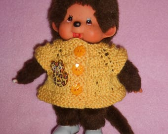"(Dress or pullover) plush Kiki clothing or Monchhichi - 20 cm - wool yellow Chick, a wooden ""cat"""