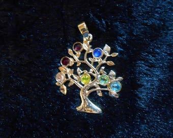Multi gem tree of life necklace
