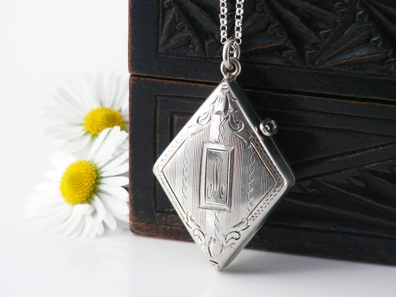Antique Locket | 1922 Art Deco Sterling Silver Locket, Diamond Shape with 'M' Monogram | Memento, Pill Box Necklace - 24 Inch Chain Included