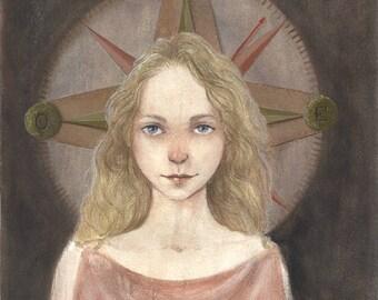 Compass girl - acrylic 16 x 20 cm