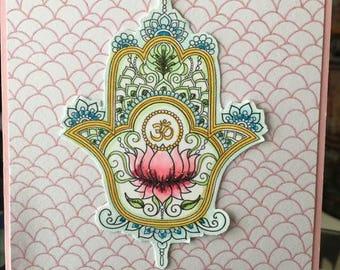 Hamsa Hand Om Card