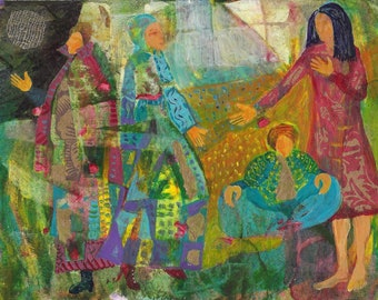 Women Call for Blessings and Healing under Light of the Moon. Print of original painting.