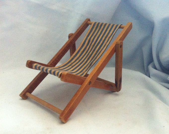 Vintage wood deck chair Dollhouse Accessoires Dolls Toys