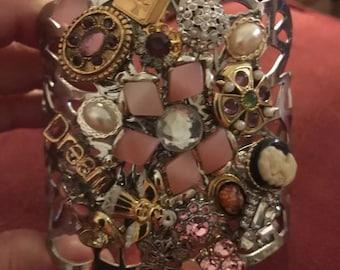 "Hand Made OAK Bangle Bracelet Collage Silvertone 7"" Wrist Pinks"