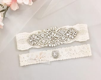 Wedding Garter ANTIQUE IVORY- Bridal Garter Lace Garter Wedding Garter Set Something Blue Bridal Garter Set Rhinestone Garter - Style #A0117