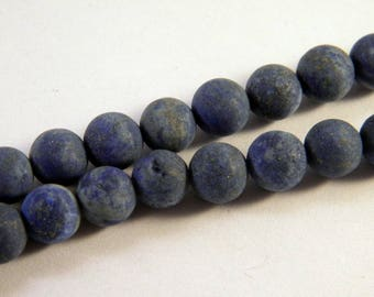 5 beads frosted cracked Lapis blue 8mm - round LL1