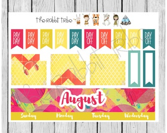 Freestyle Planning - August Monthly Kit - planner stickers